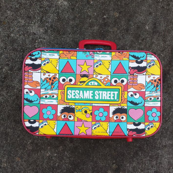 Vintage Sesame Street suitcase for kids