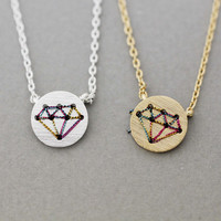 Cut-Out Diamond shape necklace in gold /silver