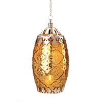 Amber Filigree Hanging Tealight Candle Lantern