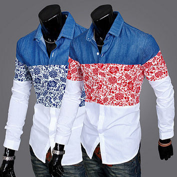 Denim Floral Design Men Fashion Casual Shirt SOS