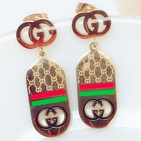 GUCCI letter ear nail net pattern red green rectangular pendant earrings female