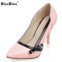 RizaBina4 4 Color Size 34-43 Sexy Women Bownot High Heel Shoes Women Patent Leather Thin Heels Pumps Women Office Party Footwear
