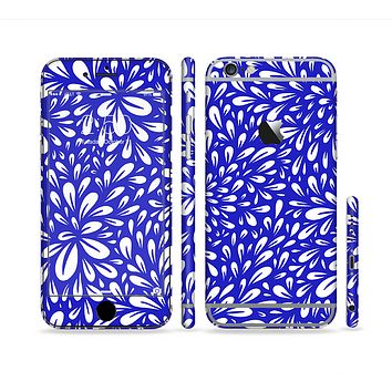 The Royal Blue & White Floral Sprout Sectioned Skin Series for the Apple iPhone 6