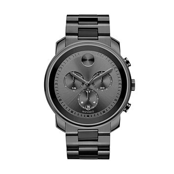 Movado Bold Gunmetal Grey Stainless Steel Chronograph Quartz Men's Watch