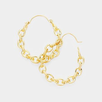 "1.50"" chain hoop earrings pierced"