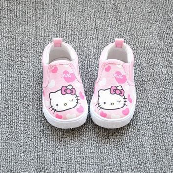 Kitty Cat Kids Shoes Children Canvas Shoes Kid Sneakers Girls Hello Kitty Princess Child Toddler Girl Carton Sneakers
