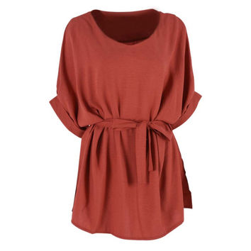 European Ladies Cloth Women Cotton Linen Tunic Shirt V Neck Loose Shirt Summer Tops With Belt Plus Size 5XL