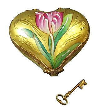 Gold Heart w Rose Key to my Heart Limoges Porcelain Boxes