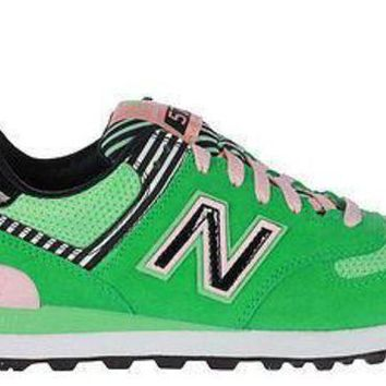 CREYONV new balance womens 574 sneakers palm spring wl574bfs green pink white