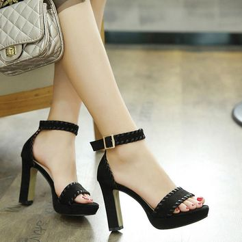 Open Toe Platform Ankle Wrap Chunky High Heels Sandals