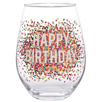 Happy Birthday Stemless Wine Glass with Multi-color Dots