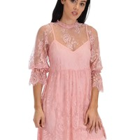 SL3965 Rose 3/4 Sleeve Lace Babydoll Dress With Scalloped Bottom
