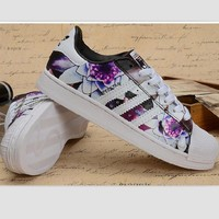 Adidas Fashion Shell-toe Flats Sneakers Sport Shoes Print Purple floral