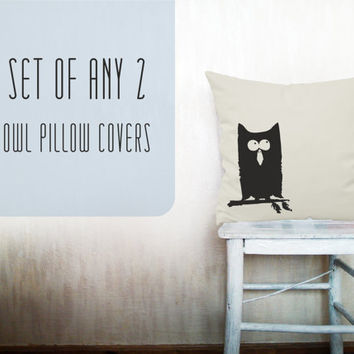 Owl pillow decorative throw pillow cover set of 2 cotton toss pillow case hand painted cushion bedding bedroom set 18x18 inches