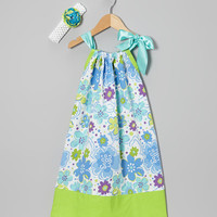 Pillowcase Dress Set.....Blue and Green Floral Clip Headband Pillowcase Dress