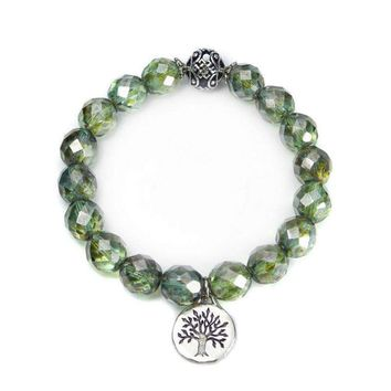 Celtic Tree of Life Bracelet with Picasso Green Czech Beads