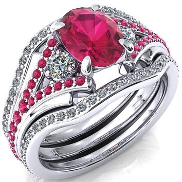 Arietis Oval Lab-Created Ruby Diamond Sides 3/4 Eternity Accent Ruby Ring