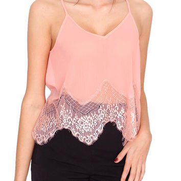 Peace Of Mind Cami Top - Peach Lace