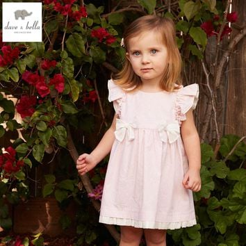 DB4875 dave bella summer baby girl pink floral princess dress baby wedding dress kids birthday clothes dress kid lolita costumes