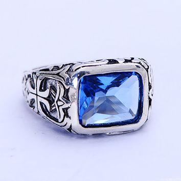 Real Pure 925 Sterling Silver Rings For Men Blue Natural Sapphire Stone Mens Ring Vintage Hollow Engraved Flower Crystal Jewelry