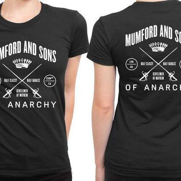 LMF1GW Mumford And Sons Logo Of Anarchy Half Classy Half Badass 2 Sided Womens T Shirt