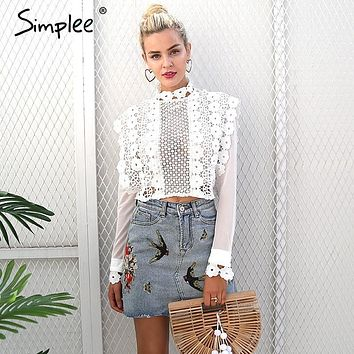 Simplee Sexy white lace flower blouse shirt Hollow out mesh transparent blouse blusas Women long sleeve blouse tops christmas