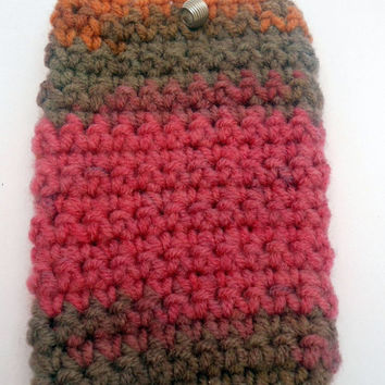 POUCH / CASE, colorful handmade crochet, cell phone cosy, crochet phone cover, crochet phone sleeve, phone accessory, chunky phone sleeve