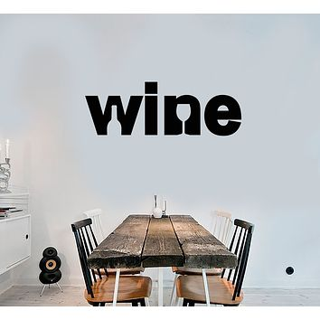 Vinyl Wall Decal Logo Word Wine Shop Bar Bottle Glass Stickers (3712ig)