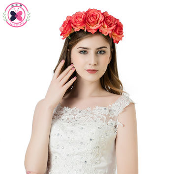 haimeikang Beauty 5 Red Green Rose Flowers Crown Headband Festival Wedding Beach Floral Garland Hairband Fabric Hair turquoise
