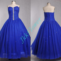 UniqueDark Royal Blue  Ball Grown Tulle Organza Beaded Prom Dresses,Formal  Party Grown Evening Dresses,Custom Made Party Dresses