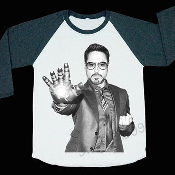 Robert Downey Jr T-Shirt Movie Shirt Rock Shirt Iron Man Shirt Baseball Tee Shirt Raglan Long Sleeve Women T-Shirt Unisex T-Shirt (S,M,L)