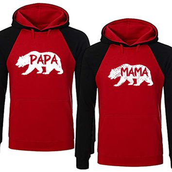 BOLD Bear Family Hoodie for Mama Bear & PAPA Bear Pullover Sweater-RED Black-Price for 1