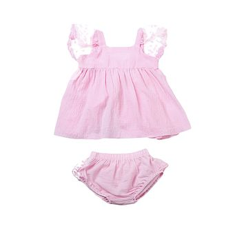 2Pcs Cute Lace Edge bay clotes set Newborn Toddler Baby Girls sleeveless Tops+Shorts outfits set
