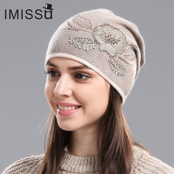 IMISSU Women's Winter Hats Hot Sale Gorros for Female Knitted Wool Casual Beanie Cap with Flower Pattern Gorros Thick Warm Hat