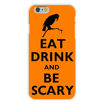 Apple iPhone 6 Custom Case White Plastic Snap On - Eat Drink and Be Scary w/ Crow Black/Orange