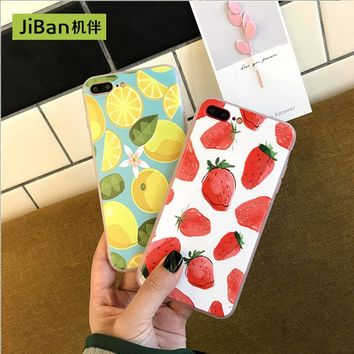 JiBan New Fresh Fruit Strawberry Lemon Embossed Soft shell  For iphone 7 7plus mobile phone shell For iphone 6 / 6s Plus case