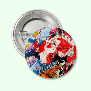 Cool oriental japanese Koi Fish lotus water tattoo Button from Zazzle.com