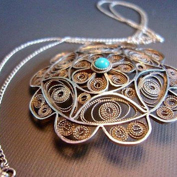 900 Silver Filigree Turquoise Brooch-Necklace, Sterling Clasp, Vintage