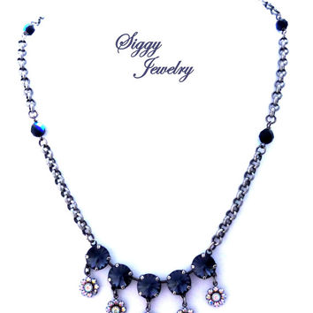 Swarovski crystal 12mm necklace **GRAPHITE LUXE** with AB flowers and bead decorated chunky chain, charcoal color, Siggy Jewelry