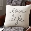 LOVE LIFE EMBROIDERED PILLOW COVER