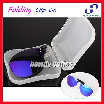 10pcs Mirror Lens Frog Driving Glasses Eyeglasses Sunglass Folding Polarized Clip On Sunglasses With Plastic Case Free Shipping