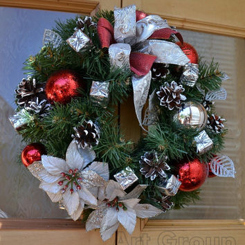 Christmas Door Wreath Holiday Wreath Cones Christmas Decoration New Year Traditional Wreath Charm for home Noel Handmade!