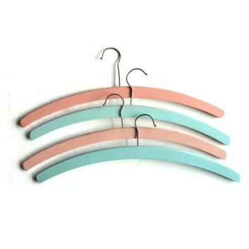 set of four shabby chic hangers . pastel pink + blue . wooden . home decor .  etsy uk
