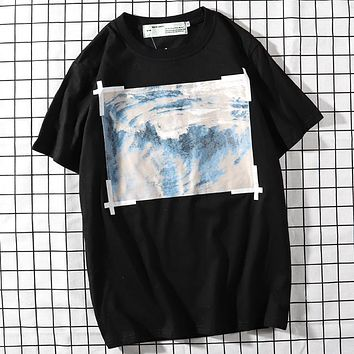 Trendsetter Off White  Women Man  Fashion Cotton  Short Sleeve Shirt Top Tee
