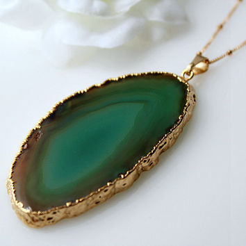 Emerald Green Agate slicePendant, Teal Green Raw Agate Slice, Agate Druzy, 14k Gold Filled Necklace, 22k Gold Plating, Statement Necklace