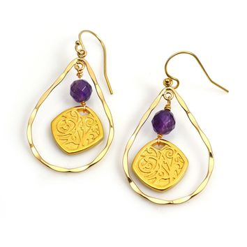 Gold Hammered Teardrop and Medallion Earrings