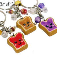 Best Friends Toast, Set of 3 Peanut Butter and Jelly Keychains Kawaii friendship key chain rings