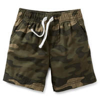 Woven Camo Pull-On Shorts