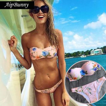 Aipbunny 2018 Hot Sexy Strappyless Pink Brazilian Bikinis Women Swimwear Floral Printed Beach Bathing Suit Bikini Set  Swimsuits