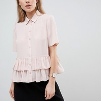 ASOS DESIGN short sleeve soft shirt with double ruffle hem at asos.com